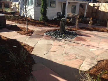 Columnar Basalt Pondless Water Feature Set in Flagstone Patio