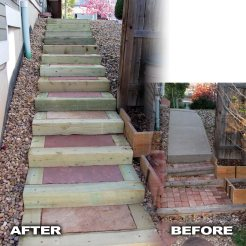 Featured Before and After of Timber Stairs with Flagstone Treads