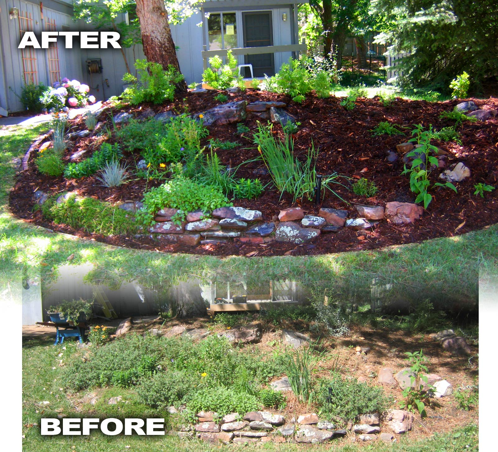 Before and after photos glacier view landscape and for Garden design ideas before and after