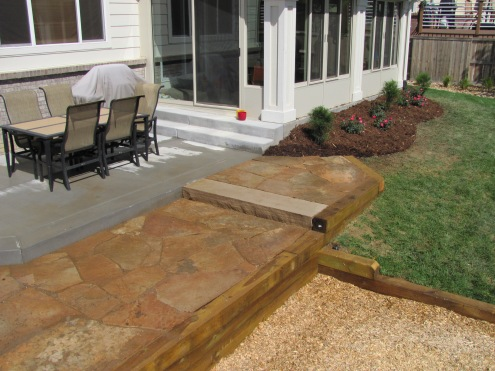 Buff Colored Flagstone Patio w/ Slab Stair