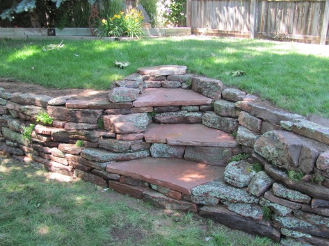 Moss Rock Wall w/ Flagstone Stairs #