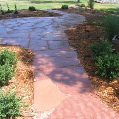 Flagstone walkway patio landscaping near Lafayette, CO