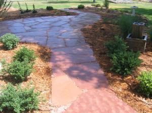 Flagstone walkway/patio with water fountain