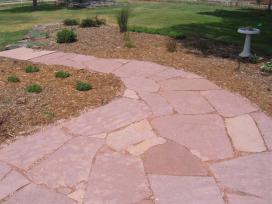 Flagstone patio landscaping project near Lafayette, Colorado