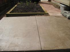 Colored Concrete, Garden Box and Flagstone Walk