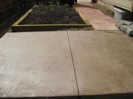 Colored Concrete, Garden Box and Flagstone Walk
