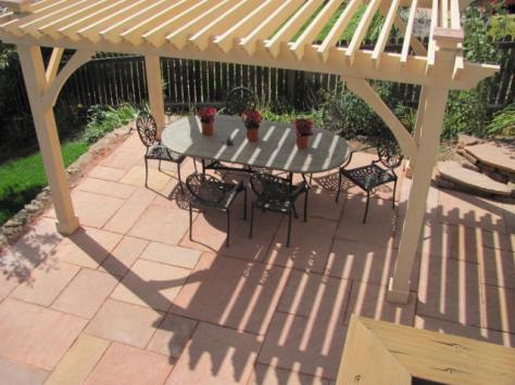 Cut Flagstone Patio w/Custom Pergola and Flagstone Post Caps