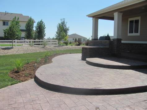 Stamped and Stained Concrete Patio near Louisville, Colorado