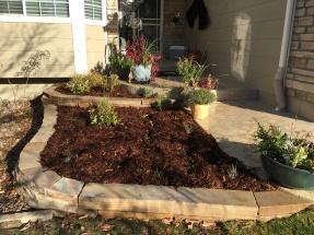 Buff Flagstone wall planters near Louisville, CO