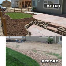 Two-Tiered-Stone-patio Before and After