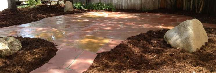 Lyons Red Flagstone Patio Landscape Completed Boulder