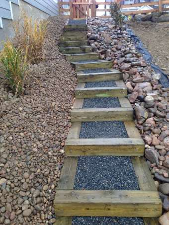 Timber Stairs on Steep Side Yard Slope
