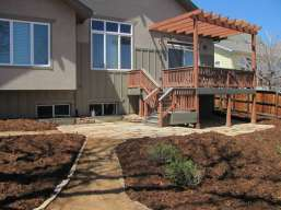 Buff Stone Patio and Stone Lined Crusher Walkway