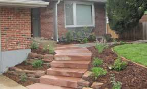 Slab Lyons Red Flagstone Steps in Front Yard Makeover #2
