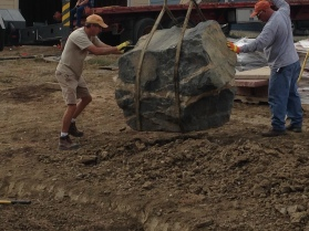Crane and Boulder Install.