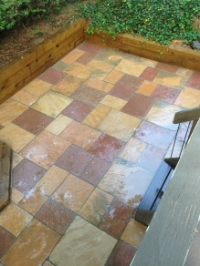Patio and timber wall from Boulder Colorado
