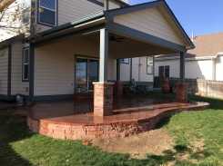Louisville Colorado Lyon's red flagstone patio and support wall