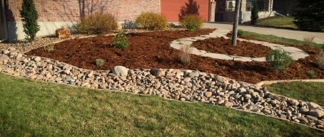 Dry Riverbed and Gardens-landscaping project near Lafayette, CO