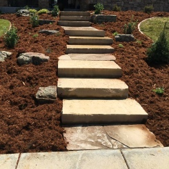 Slab stone stairs landscaping project