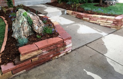 Stone-Wall-Entrance-landscaping project from Louisville, Colorado