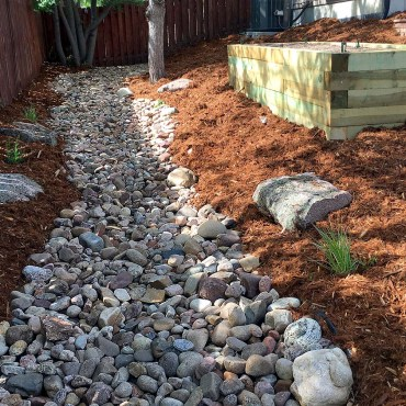 Garden Box and riverbed. Lafayette, CO Put in Garden Design