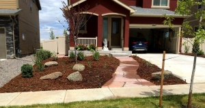 Landscaping Front Yard Makeover Xeric Design with Flagstone Walk near Erie, CO