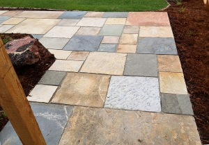 Cut stone patio-walkway Longmont COLORADO landscaping -service project