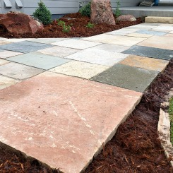 Cut stone patio-walkway Longmont, COLORADO landscaping contactor