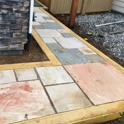 Cut stone patio-walkway Longmont COLORADO landscaping project