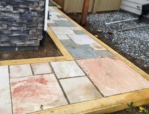 Cut stone patio-walkway Longmont COLORADO landscaping project