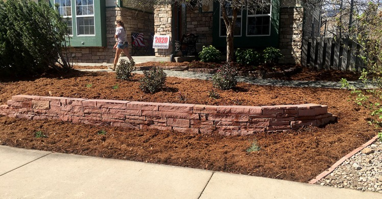 Louisville, Colorado landscaping job-Cut Stone Retaining Wall