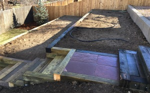 Timber Retaining Wall Flagstone Stair Inserts-landscaping service